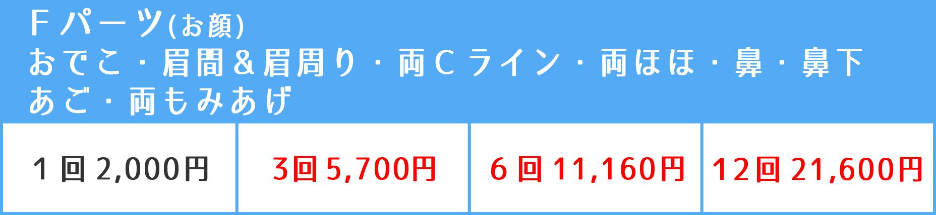 F(お顔)パーツ料金表